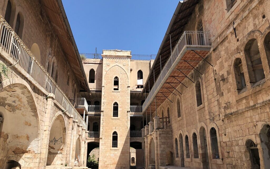 The U-shaped courtyard of the former Schneller German Protestant Orphanage, now slated for renovation and rebuilding as Beit Hakehillot museum and institute (Jessica Steinberg/Times of Israel)