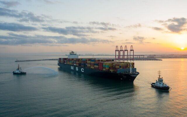 MSC PARIS nearing Haifa port October 11, 2020. (Geodrones)