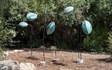 Sigalit Landau's 'Squirting Cucumber,' one of the sculptures on display on 'Returning to Nature' at the Jerusalem Botanical Gardens (Courtesy Jerusalem Botanical Gardens)