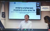 Ronen Manelis, director of the Ministry of Strategic Affairs, speaking to reporters via Zoom, October 27, 2020 (Times of Israel)