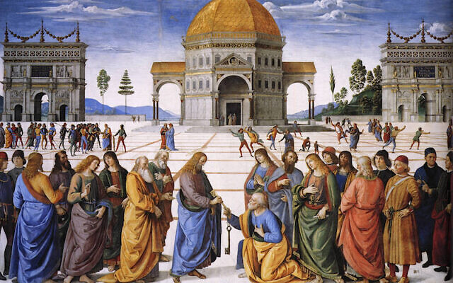 Perugino, 'Christ Giving the Keys of the Kingdom to St. Peter,' Sistine Chapel, 1481-83, fresco, based on Matthew (16:18-19). (public domain)