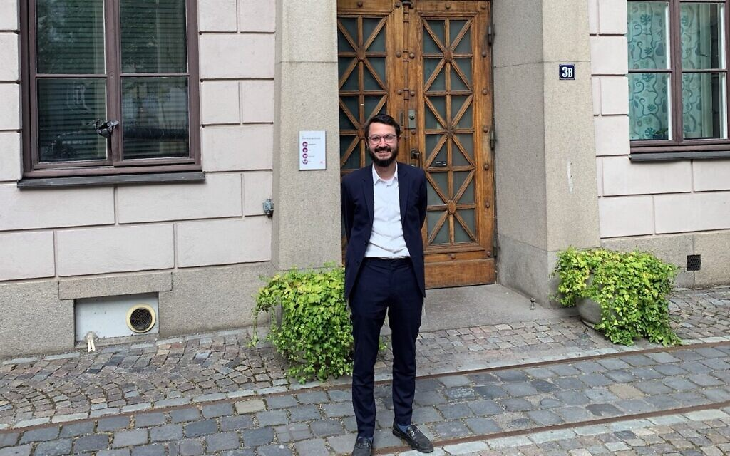 Rabbi Mattias Amster, Stockholm's new orthodox rabbi (John Gradowski via JTA)