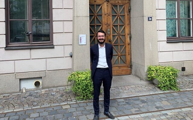 Rabbi Mattias Amster, Stockholm's new orthodox rabbi (John Gradowski via JTA)