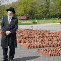 Dutch Chief Rabbi Binyomin Jacobs at Westerbork Memorial Center, May 14, 2017. (Cnaan Liphshiz)