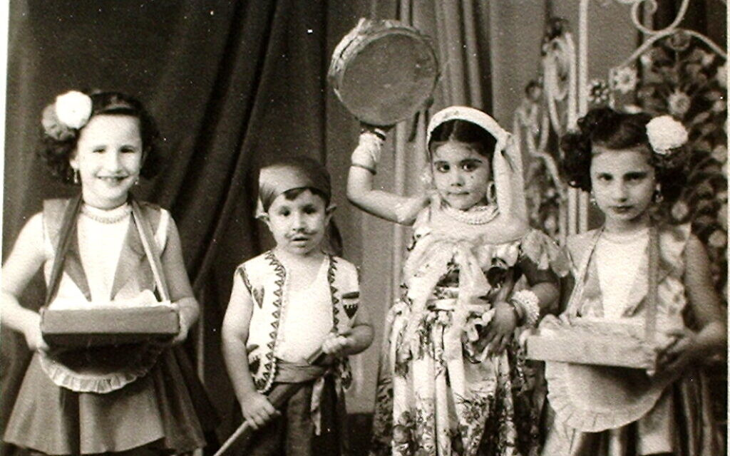 Jewish children dressed up to celebrate the Purim holiday in Sudan, 1950. (Courtesy Tales of Jewish Khartoum)