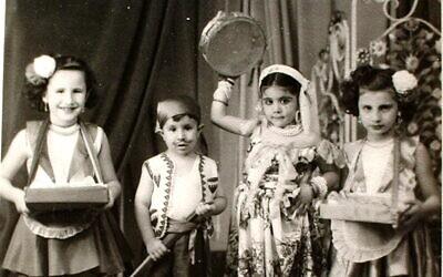 Jewish children dressed up to celebrate the Purim holiday in Sudan, 1950. (Courtesy Tales of Jewish Khartoum)