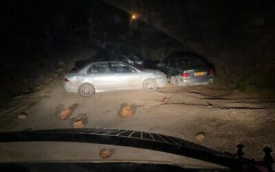 The scene of a suspected car-ramming attack by an extremist settler at the Kumi Ori outpost near the West Bank settlement of Yitzhar, November 25, 2020. (Border Police)