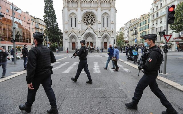 French gendarmes secure the area around the Notre-Dame de l'Assomption Basilica in Nice on October 31, 2020, two days after a Tunisian man stabbed three people to death in a terror attack. (Valery Hache/AFP)