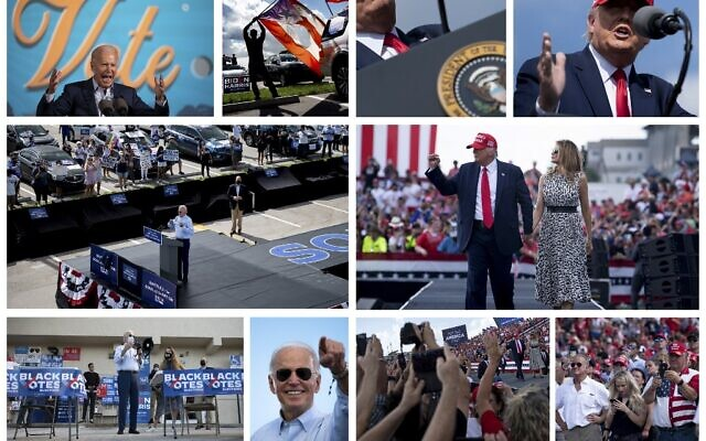 This combination of pictures created on October 31, 2020 shows US Democratic presidential candidate Joe Biden (panel L) and US President Donald Trump (panel R) during competing campaign events October 29, 2020, in Florida. (Brendan SMIALOWSKI and Jim WATSON / AFP)