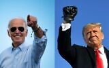 This combination of pictures created on October 30, 2020 shows Democratic Presidential candidate and former US Vice President Joe Biden gestures prior to delivering remarks at a Drive-in event in Coconut Creek, Florida, on October 29, 2020 and US President Donald Trump pumps his fist as he arrives to a campaign rally at Green Bay Austin Straubel International Airport in Green Bay, Wisconsin on October 30, 2020. (JIM WATSON and MANDEL NGAN / AFP)