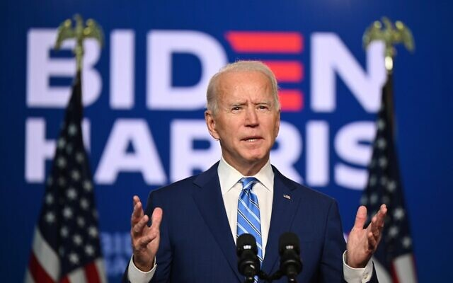 Democratic Presidential candidate Joe Biden speaks at the Chase Center in Wilmington, Delaware on November 4, 2020. (JIM WATSON / AFP)