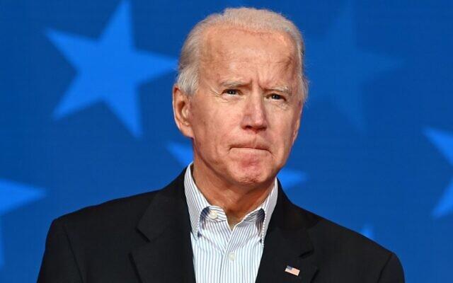 Democratic Presidential candidate Joe Biden speaks at the Queen venue in Wilmington, Delaware, on November 5, 2020. (Jim Watson/AFP)