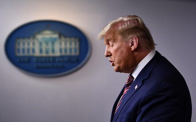 US President Donald Trump speaks in the Brady Briefing Room at the White House in Washington on November 5, 2020. (Brendan Smialowski/AFP)
