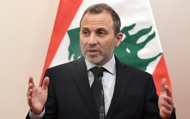 Lebanon's then Foreign Minister Gebran Bassil addresses a press conference after a signing ceremony of a diplomatic cooperation agreement in Budapest, Hungary, on November 26, 2019. (Attila Kisbenedek/AFP)