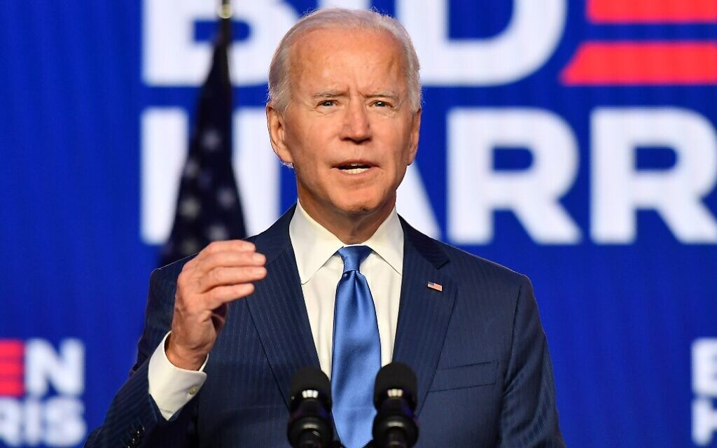 Democratic presidential nominee Joe Biden delivers remarks at the Chase Center in Wilmington, Delaware, on November 6, 2020. (Angela Weiss/AFP)