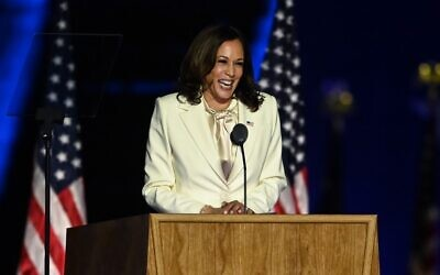 US Vice President-elect Kamala Harris delivers remarks in Wilmington, Delaware, on November 7, 2020, after being declared the winner with Joe Biden of the presidential election. (Photo by Jim WATSON / AFP)