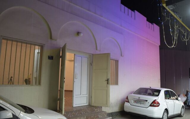 The facade of the only synagogue in the kingdom of Bahrain, in the capital Manama, on the anniversary of Kristallnacht, the 1938 destruction of Jewish shops and houses of worship by Nazi groups in Germany, lit up as part of the 'Let There Be Light global campaign against anti-Semitism, racism, intolerance and hatred, November 9, 2020 (Mazen Mahdi/AFP)