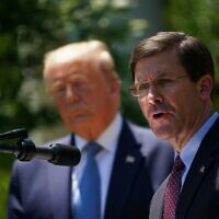 Then-US secretary of defense Mark Esper, with US President Donald Trump, speaks on vaccine development on May 15, 2020, in the Rose Garden of the White House in Washington, DC. (MANDEL NGAN / AFP)