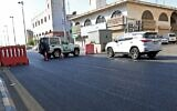 Saudi police close a street leading to a non-Muslim cemetery in the Saudi city of Jeddah where a bomb struck a World War I commemoration attended by European diplomats on November 11, 2020 leaving several people wounded amid Muslim anger over French cartoons. (AFP)