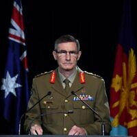 Chief of the Australian Defence Force (ADF) General Angus Campbell delivers the findings from the Inspector-General of the Australian Defence Force Afghanistan Inquiry, in Canberra on November 19, 2020. (Photo by Mick Tasikas / POOL / AFP)