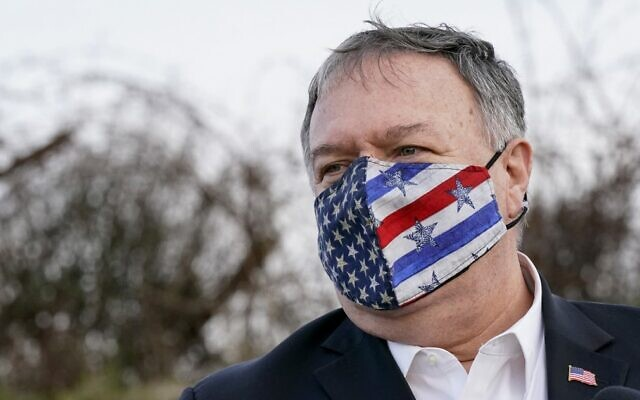 US Secretary of State Mike Pompeo takes part in a security briefing on Mount Bental in the Golan Heights, near Merom Golan on the border with Syria, on November 19, 2020. (Patrick Semansky/Pool/AFP)