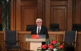 German President Frank-Walter Steinmeier delivers his speech during a ceremony marking the 75th anniversary of the start of the Nuremberg war crimes trials in Nuremberg, southern Germany on November 20, 2020 (Daniel Karmann / POOL / AFP)