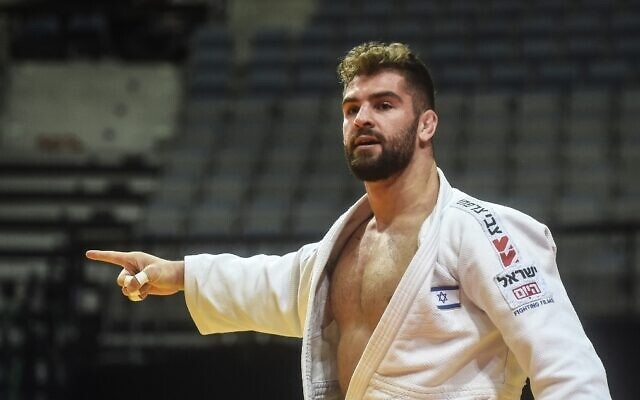 Israel's Peter Paltchik reacts after defeating Bulgarian Boris Georgiev during the men's under-100 kilogram weight category quarter final at the European Judo Championship 2020 in Prague, on November 21, 2020. (Michal Cizek/AFP)