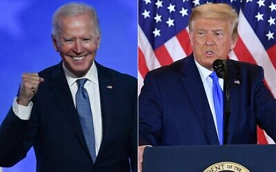 This combination of files pictures created on November 4, 2020, shows Democratic presidential nominee Joe Biden after speaking during election night at the Chase Center in Wilmington, Delaware; and US President Donald Trump on election night in the East Room of the White House in Washington, DC, early on November 4, 2020. (ANGELA  WEISS and MANDEL NGAN / AFP)