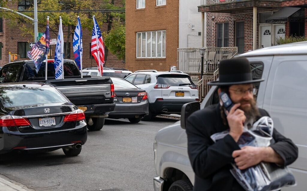 A small caravan of trump supporters park at a polling station in Public School 160, on November 3, 2020 in the Brooklyn borough of New York. (David Dee Delgado/Getty Images/AFP)