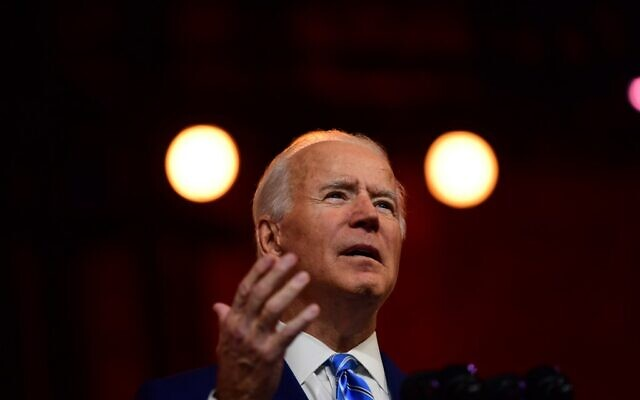 USPresident-elect Joe Biden delivers a Thanksgiving address at the Queen Theatre on November 25, 2020 in Wilmington, Delaware.(Mark Makela/Getty Images/AFP)