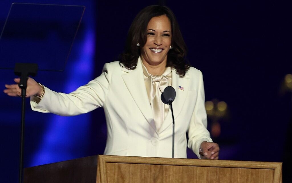 US Vice President-elect Kamala Harris speaks on stage at the Chase Center before President-elect Joe Biden's address to the nation November 7, 2020 in Wilmington, Delaware. (Tasos Katopodis/Getty Images/AFP)