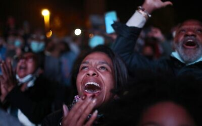 Jailyn Banks cheer as President-elect Joe Biden addresses the nation at the Chase Center on November 7, 2020 in Wilmington, Delaware. (Joe Raedle/Getty Images/AFP)