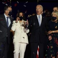 US President-elect Joe Biden, Jill Biden, Vice President-elect Kamala Harris and husband Doug Emhoff after Biden's address to the nation from the Chase Center November 07, 2020 in Wilmington, Delaware. (Tasos Katopodis/Getty Images/AFP)