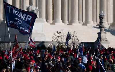 Supporters of US President Donald Trump rally at the Supreme Court in Washington, November 14, 2020. (Andrew Caballero-Reynolds/AFP via Getty Images via JTA)