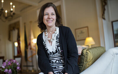 Sarah Bloom Raskin, Deputy Secretary of the Treasury Department, is photographed in her office, February 26, 2015.  (Tom Williams/CQ Roll Call/Getty Images via JTA)