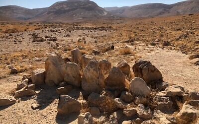 Twelve standing stones at the base of Mount Karkom, said by one expert to recall 'altar stones' described in the Bible. (Sue Surkes/Times of Israel)