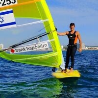 Windsurfer Yoav Cohen at the 2020 European Championships in Portugal, November 2020 (Israeli Sailing Association)