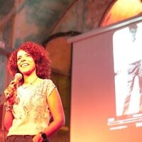 Director Ibtisam Mara'ana-Menuhin discusses her work at a film screening in Jerusalem (courtesy)