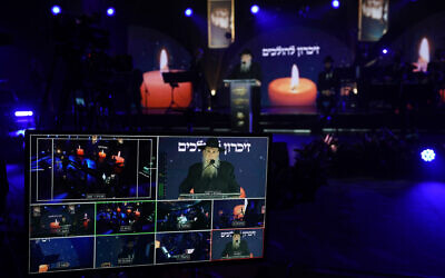 The closing event at Chabad's annual conference of worldwide emissaries was filmed in Crown Heights, Brooklyn, and streamed around the globe. (Bentzi Sasson/Chabad.org via JTA)