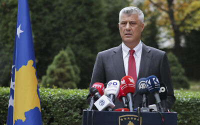 Kosovo president Hashim Thaci addresses the nation as he announced his resignation to face war crimes charges in Kosovo capital Pristina on November 5, 2020. (AP Photo/Visar Kryeziu)