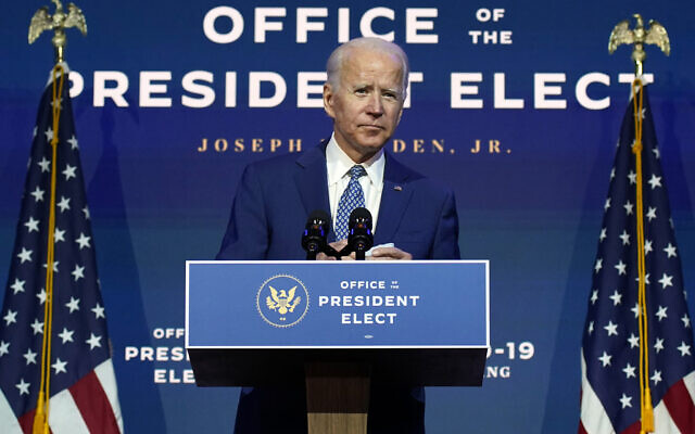 US President-elect Joe Biden speaks on November 9, 2020, at The Queen theater in Wilmington, Delaware. (AP Photo/Carolyn Kaster)