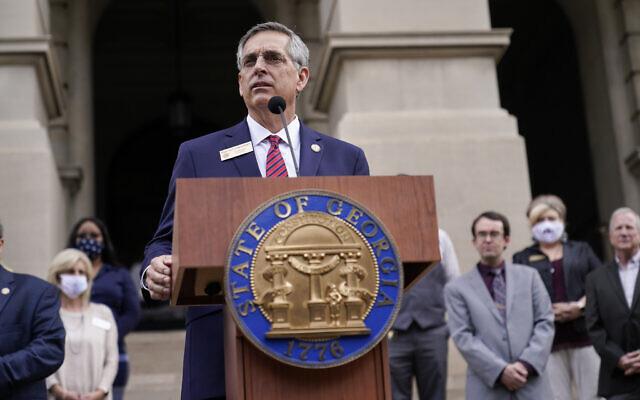 Georgia Secretary of State Brad Raffensperger speaks during a news conference on on November 11, 2020, in Atlanta. (AP/Brynn Anderson)