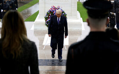US President Donald Trump participates in a Veterans Day wreath laying ceremony at the Tomb of the Unknown Soldier at Arlington National Cemetery in Arlington, Va. on November 11, 2020. (AP/Patrick Semansky)