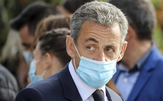 In this Oct.29, 2020 file photo, former French president Nicolas Sarkozy attends a ceremony in Nice, southern France (Valery Hache; Pool via AP, File)