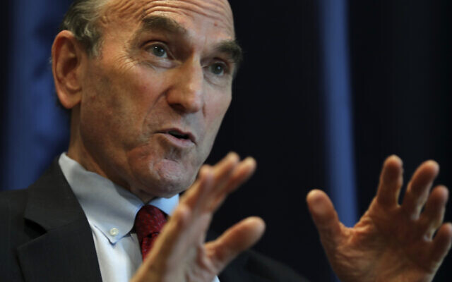 Elliot Abrams, US special representative for Iran, talks during an interview with The Associated Press at the US Embassy in Abu Dhabi, United Arab Emirates, November 12, 2020. (AP Photo/Kamran Jebreili)