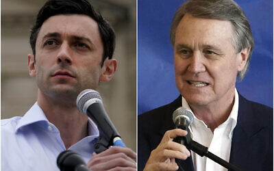 This combination of photos shows Democratic candidate for Senate Jon Ossoff, left, on Nov. 10, 2020, and Republican candidate for Senate Sen. David Perdue on Nov. 2, 2020, in Atlanta. The two are in a runoff election for the Senate seat. (AP Photo/John Bazemore)