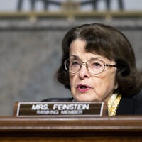 Sen. Dianne Feinstein, D-Calif., questions Mark Zuckerberg, Chief Executive Officer of Facebook, and Jack Dorsey, Chief Executive Officer of Twitter, during the Senate Judiciary Committee hearing on Facebook and Twitter's actions around the closely contested election, Tuesday, Nov. 17, 2020 on Capitol Hill in Washington. (Photo By Bill Clark/CQ Roll Call)