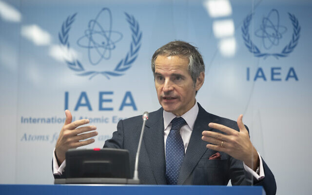 Director-General of the International Atomic Energy Agency (IAEA), Rafael Mariano Grossi, speaks during a press conference during an IAEA Board of Governors meeting at the IAEA headquarters of the UN in Vienna, Austria, November 18, 2020. (Christian Bruna/Pool Photo via AP)