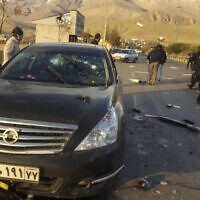 This photo released by the semi-official Fars News Agency shows the scene where Mohsen Fakhrizadeh was killed in Absard, a small city just east of the capital, Tehran, Iran, Nov. 27, 2020 (Fars News Agency via AP)