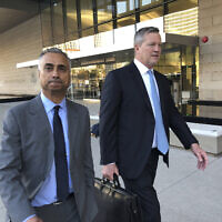 Imaad Zuberi, left, leaves the federal courthouse in Los Angeles with his attorney Thomas O'Brien, right, after pleading guilty to funneling donations from foreigners to US political campaigns, November 22, 2019. (AP Photo/Brian Melley, File)